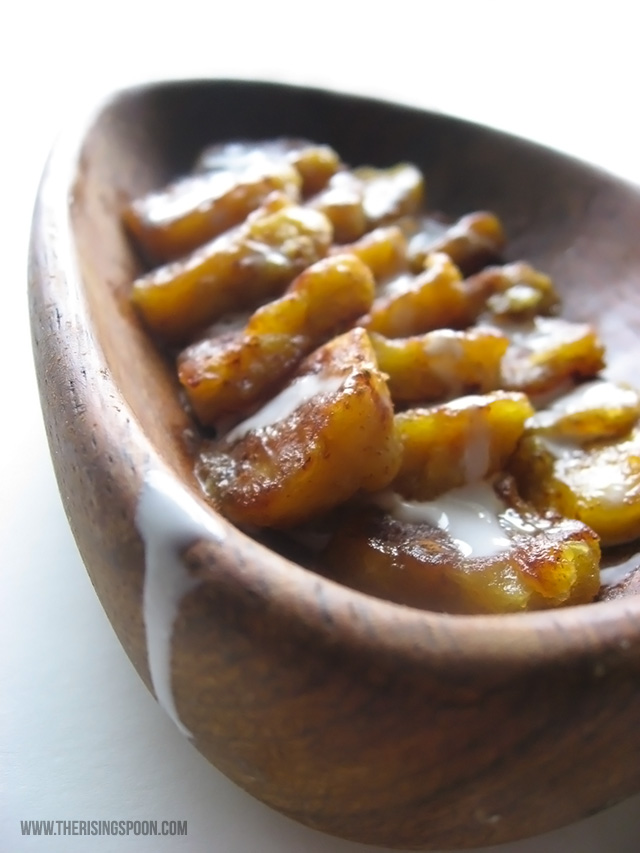 Creamy Pan-Fried Plantains with Cinnamon, Cardamom & Maple Syrup {Dairy-Free & Vegan}