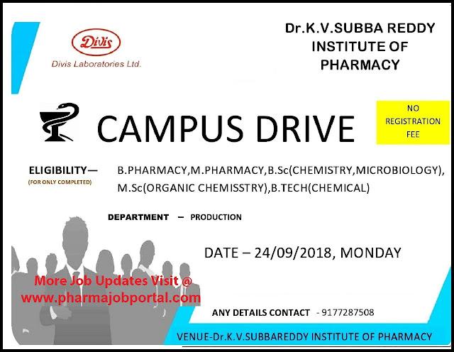 Divis Laboratories Campus Drive For B.Pharm, M.Pharm, B.Sc, M.Sc, B.Tech-Chem Freshers at 24  Sep
