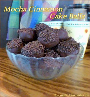Mocha Cinnamon Cake Balls are little bites of heaven. Coffee and Cinnamon Cake Squares are mixed with chocolate syrup, dipped in dark chocolate and topped with sprinkles. | Recipe developed by www.BakingInATornado.com | #recipe #dessert