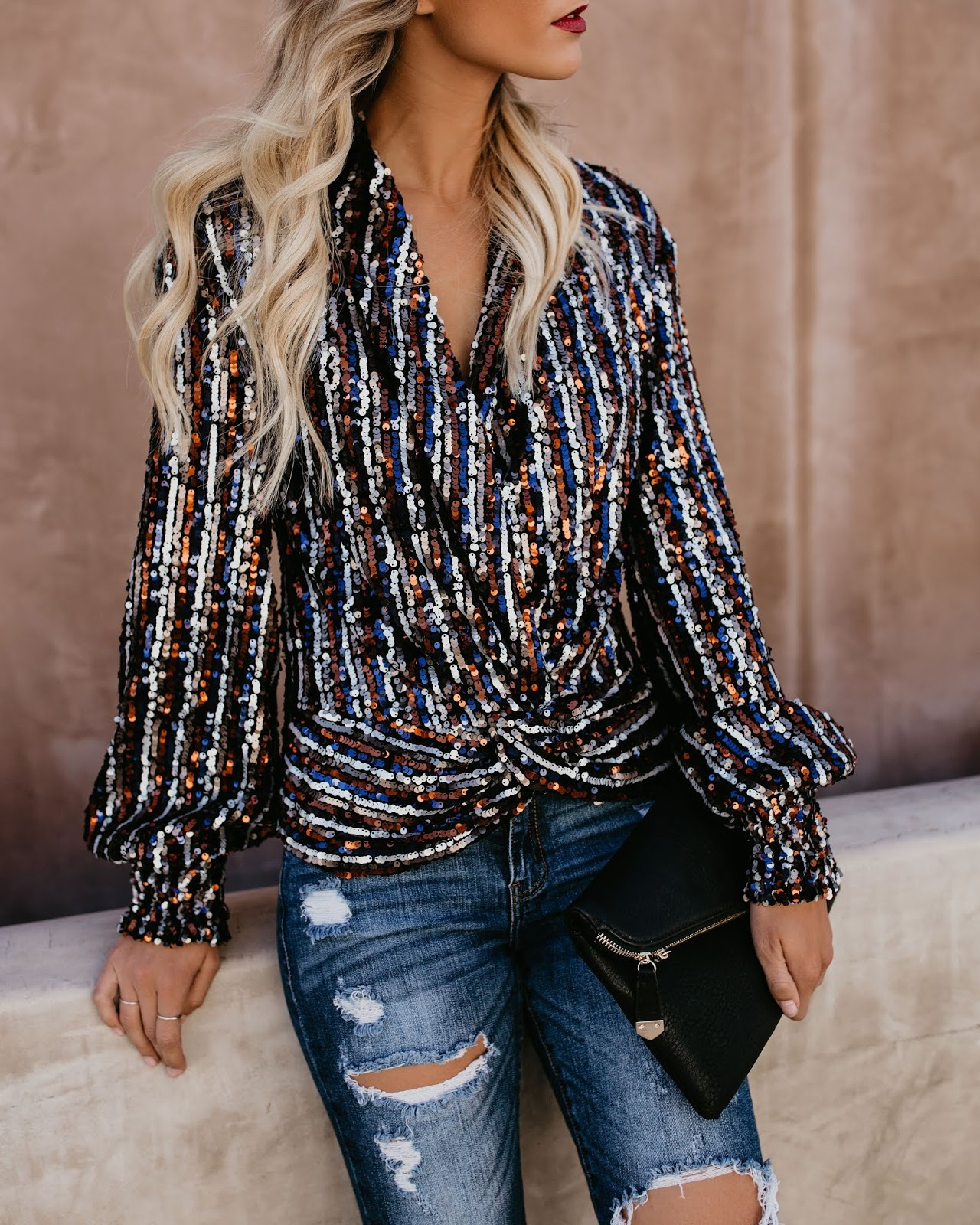 Holiday Sequin Drape Top