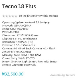 Tecno Launches L8 Plus 2GB RAM+5050Mah Battery For 32,500#