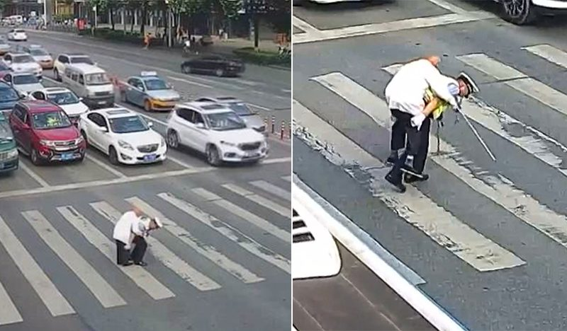 Heart-Melting Video Depicts Traffic Cop Giving An Old Man A Piggyback Ride Across A Busy Intersection
