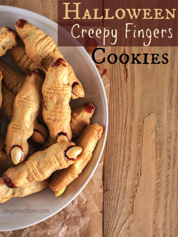 Halloween Creepy Finger Cookies Recipe from Stagetecture