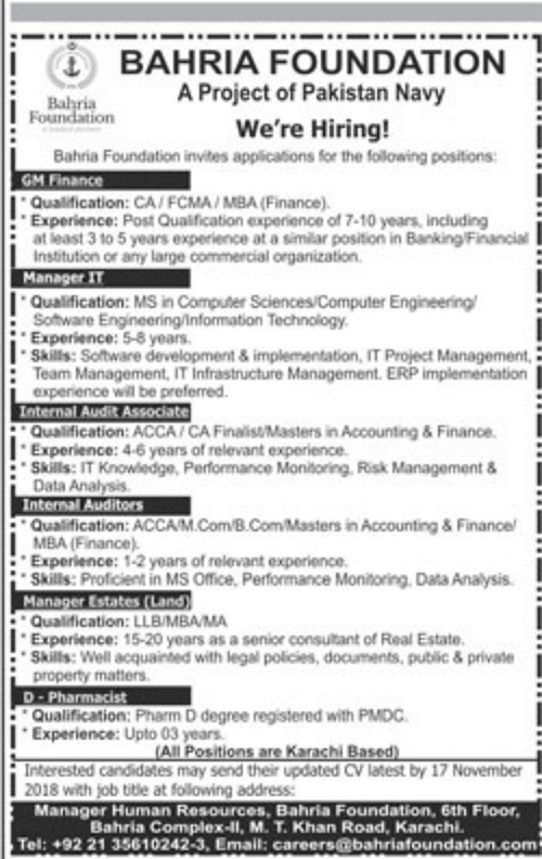 #Jobs - #Career_Opportunities #Jobs in Bahria Foundation in Karachi