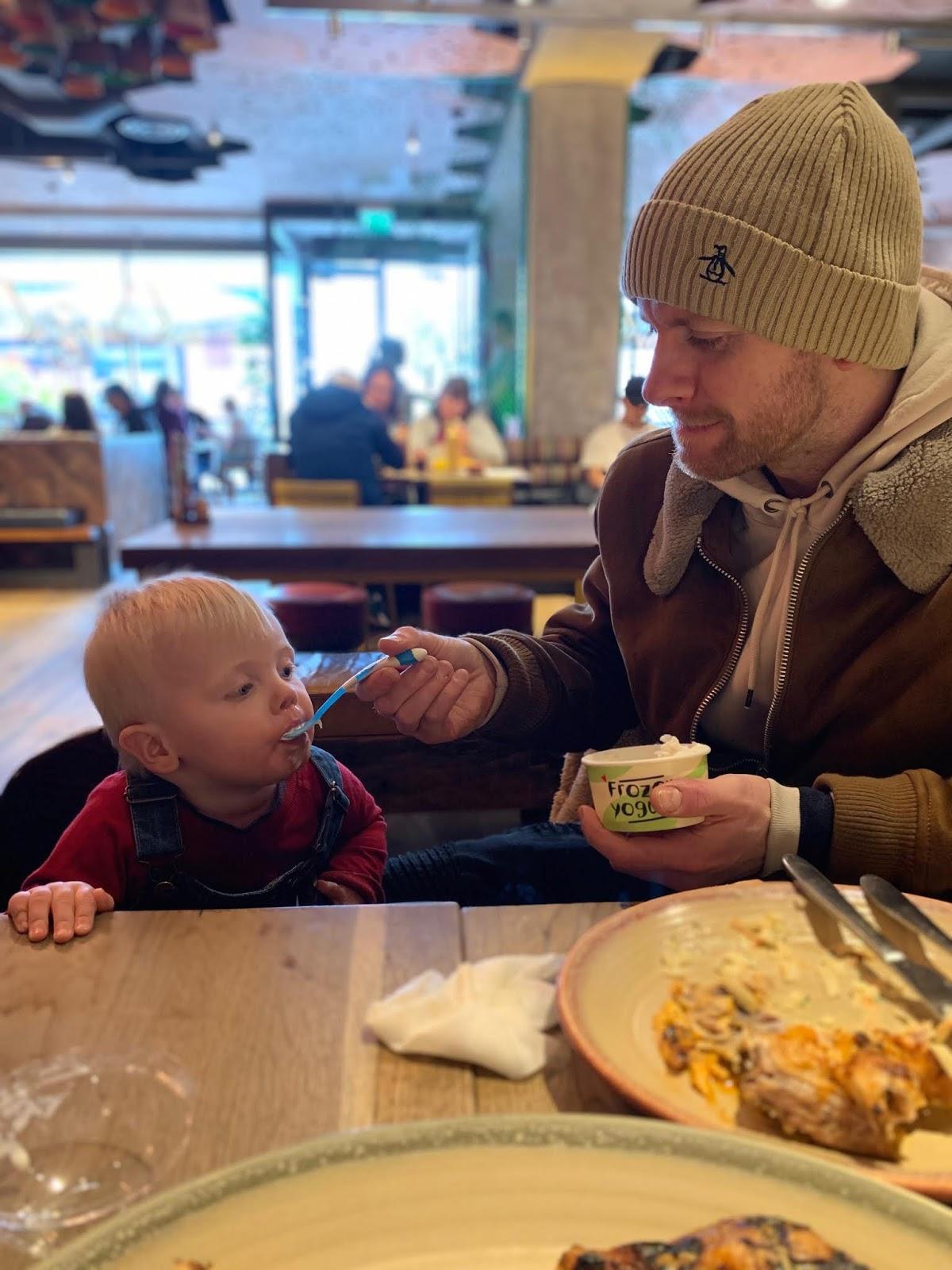Baby sampling Nandino's menu intu potteries