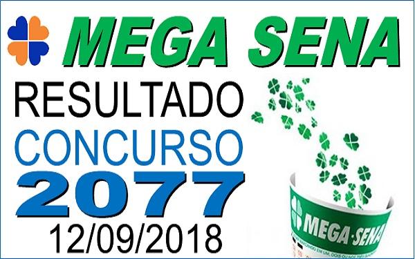 Resultado da Mega Sena concurso 2077 de 12/09/2018 (Imagem: Informe Notícias)