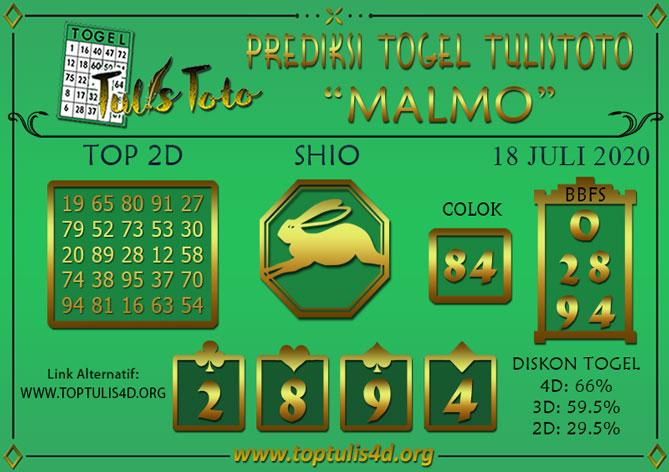 Prediksi Togel MALMO TULISTOTO 18 JULI 2020