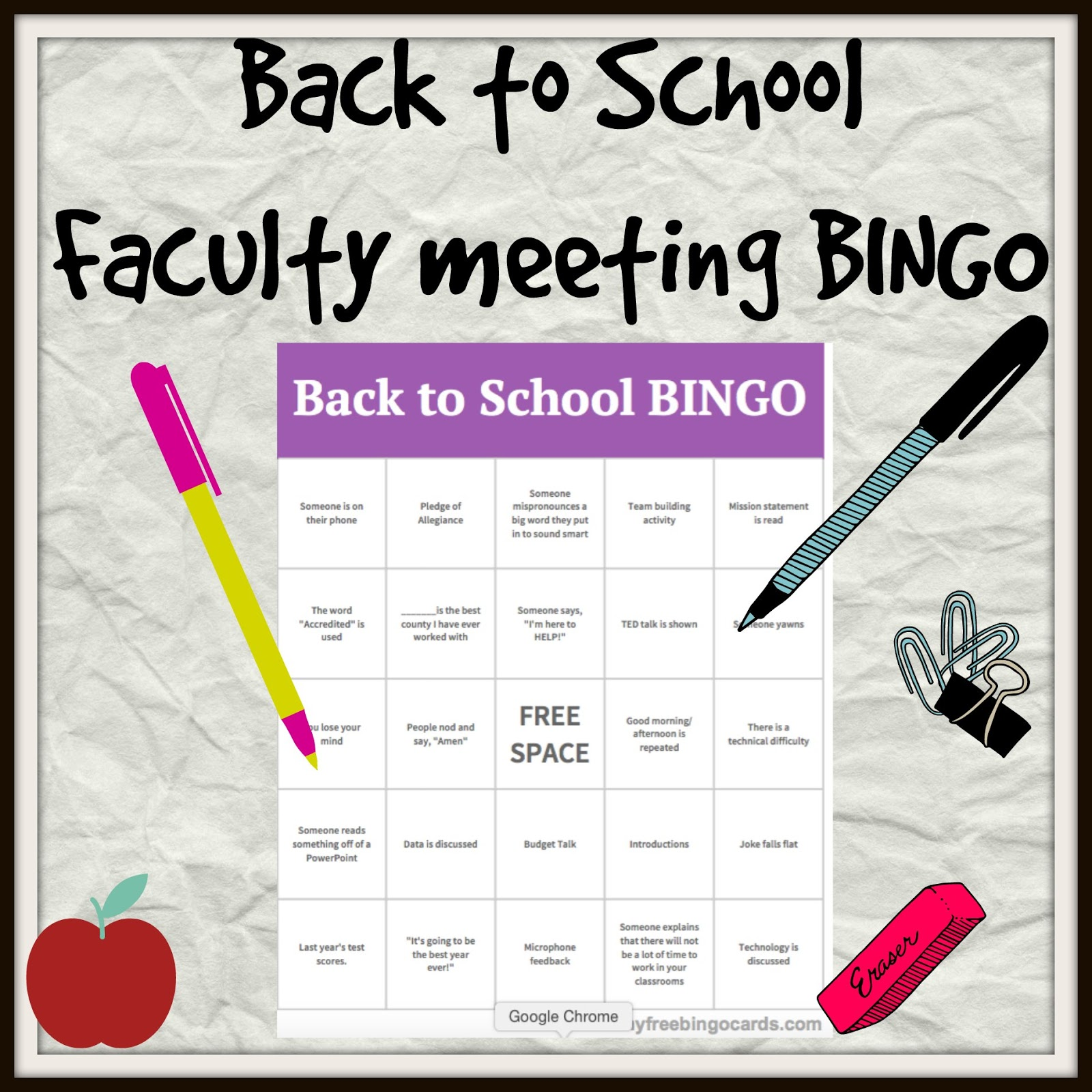 Faculty Meeting Back To School Bingo