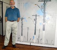 Clameli, o artista e um de seus quadros