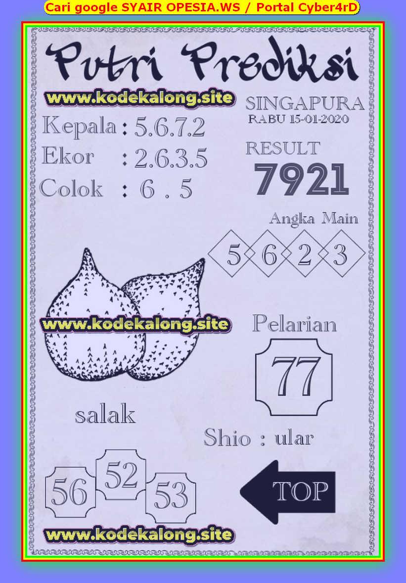Kode syair Singapore Rabu 15 Januari 2020 79
