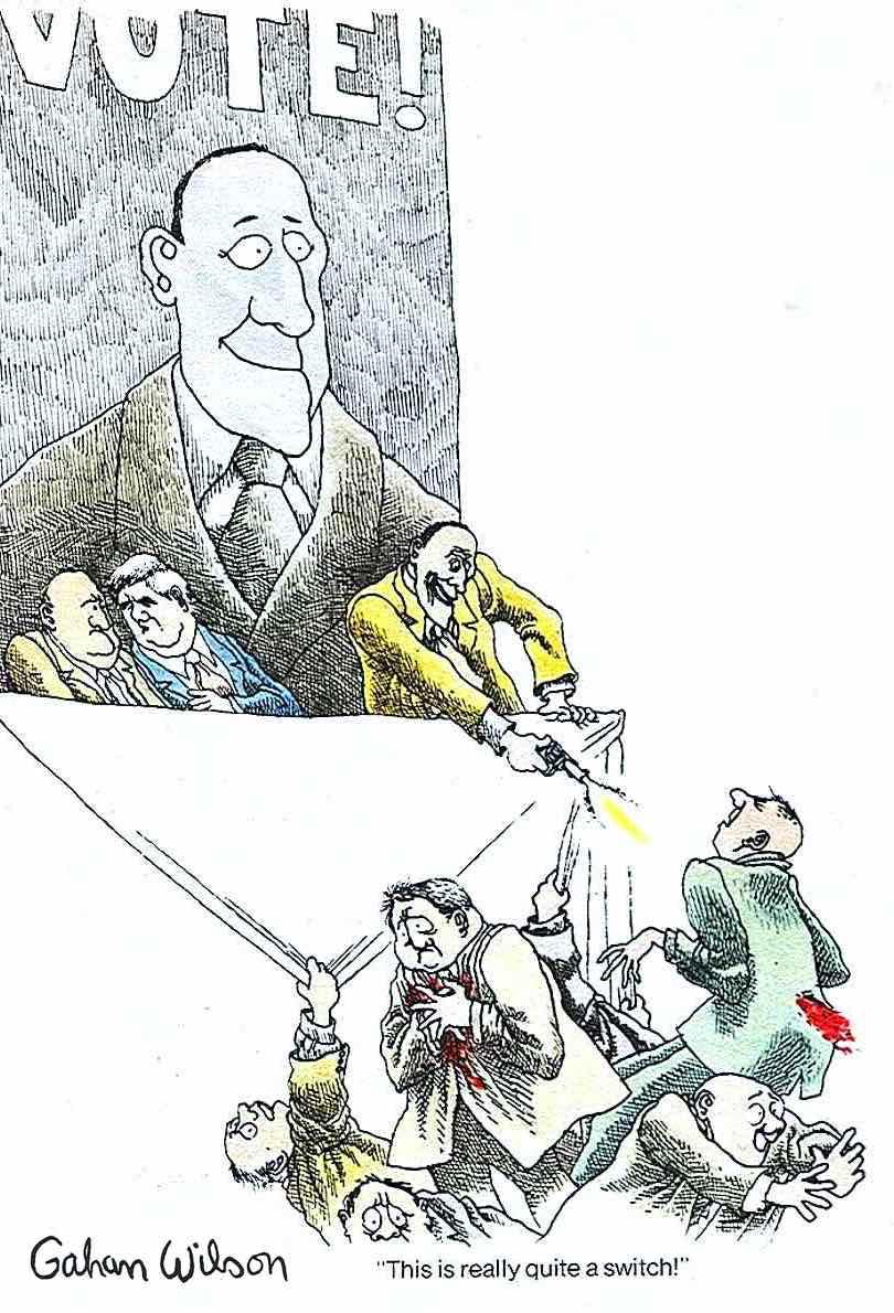 a Gahan Wilson cartoon, a politician shoots the crowd