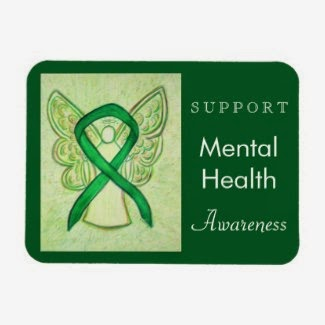Mental Health Awareness Ribbon Green Angel Custom Rectangle Magnets