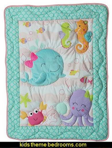 Sea Sweeties Pink and Purple Fish 4 Piece Baby Girl Crib Bedding