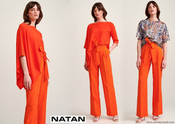 Queen Mathilde wore an Adria asymmetric jumper and Milan trousers, both by Natan