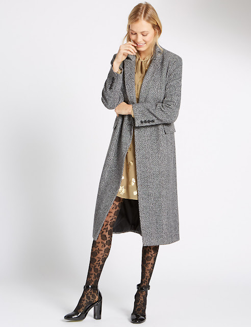 grey herringbone coat, m&s grey coat,