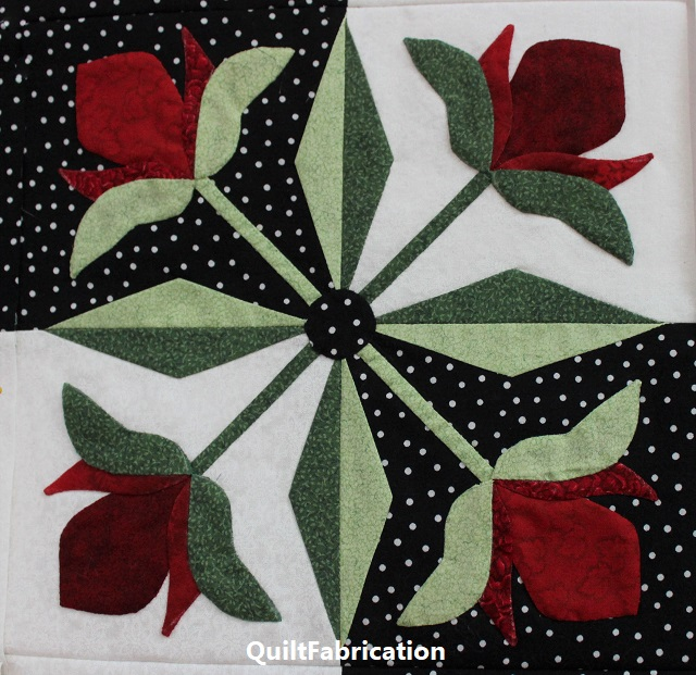Mediterranean Rose quilt block by QuiltFabrication