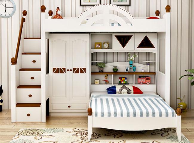 Giường tầng da năng kết hợp tủ quần áo bàn học