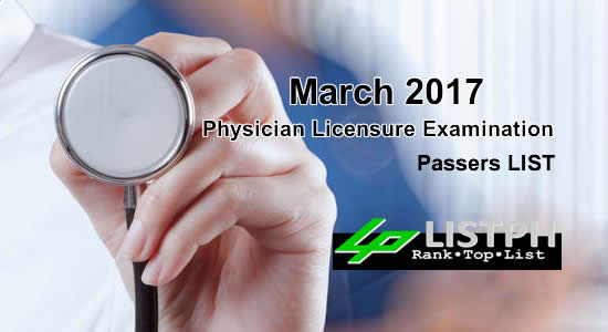 List of Passers March 2017 Physician Licensure Examination