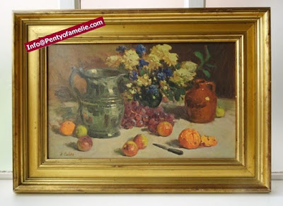 rare Rudolph Colao Still Life featuring lovely Flowers, Fruits, bunch of grapes, terracotta Jug, pewter pitcher