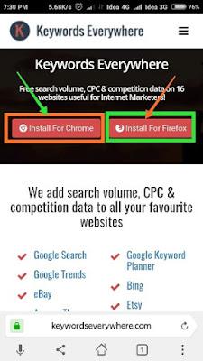 keyword everywhere ko mobile me kaise install karen?