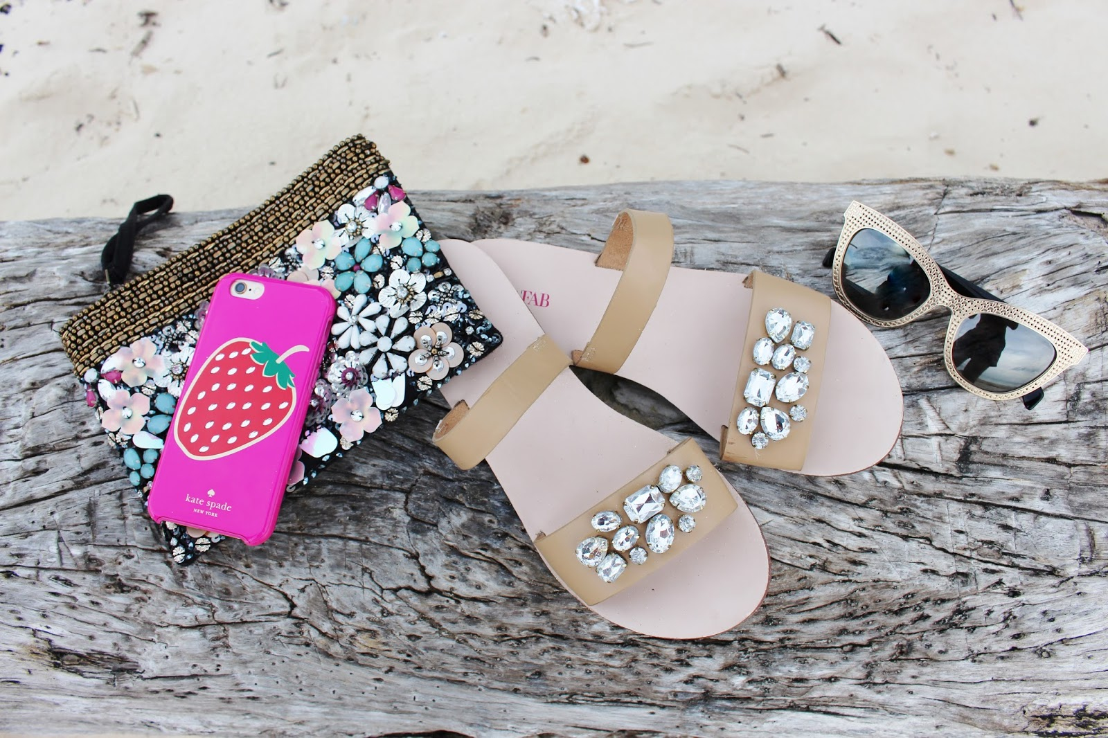 bijuleni-summer beach accessories and justfab sandals