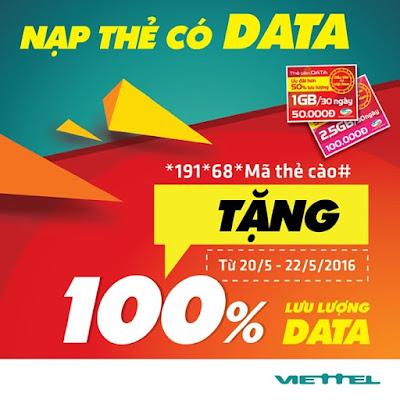 Viettel khuyến mãi 100% dung lượng thẻ nạp data 21, 22/5/2016