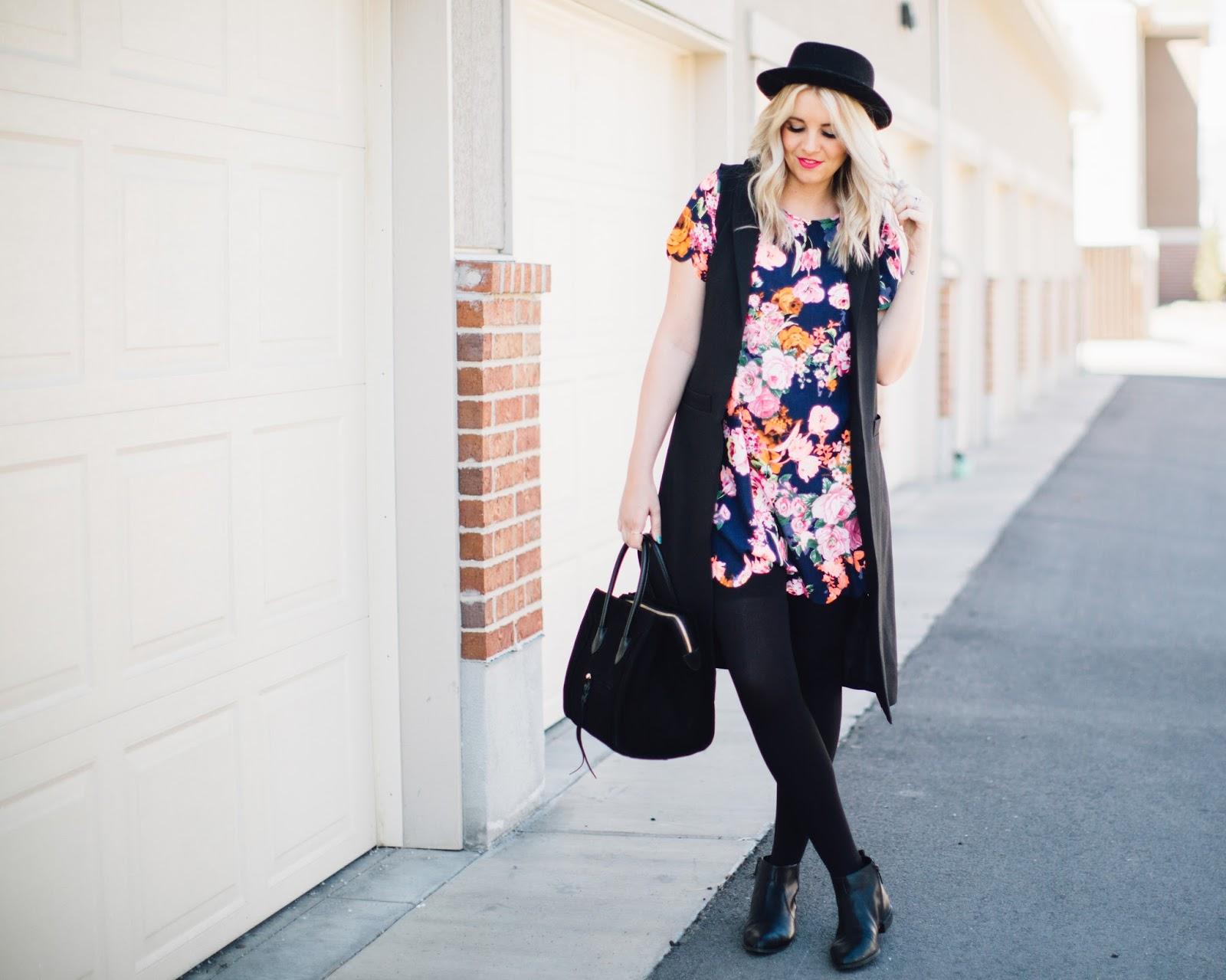 Floral Dress, Black Vest, Spring Outfit