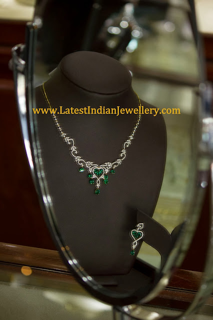 Diamond Necklace with Emerald Drops
