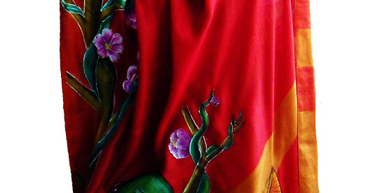 hand Painted Parrot design on Brick red silk saree