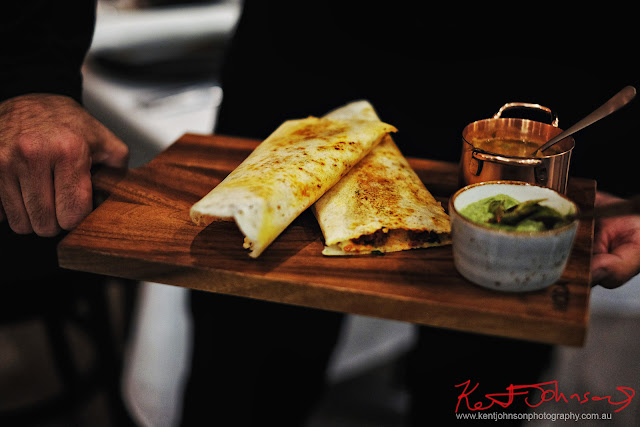 The spicy and delicious Mini Keema Dosa entree, Indian Food, Spice Theory Restaurant, Turramurra, Sydney. Photography by Kent Johnson for Street Fashion Sydney.