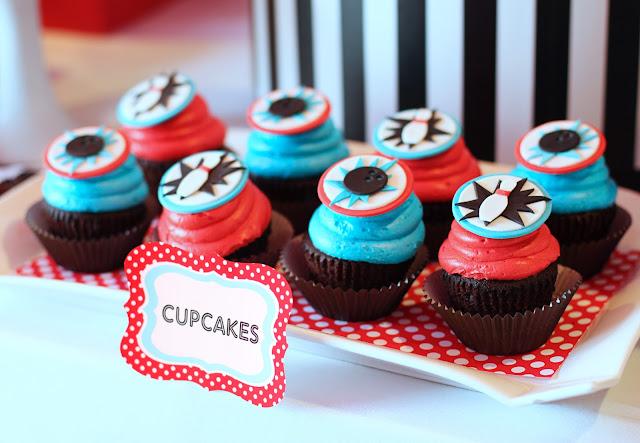 cupcake tema boliche