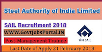 Steel Authority of India Limited Recruitment 2018– 382 Management Trainee
