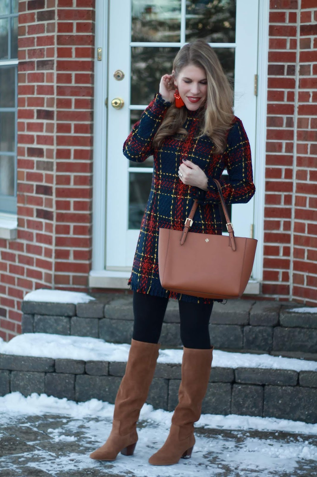 plaid tweed dress, cognac slouch boots, tory burch cognac tote, dressy winter outfit