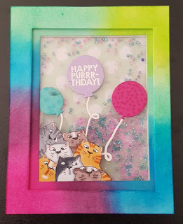 Art Impression Cats peeking out of a colorful shaker card