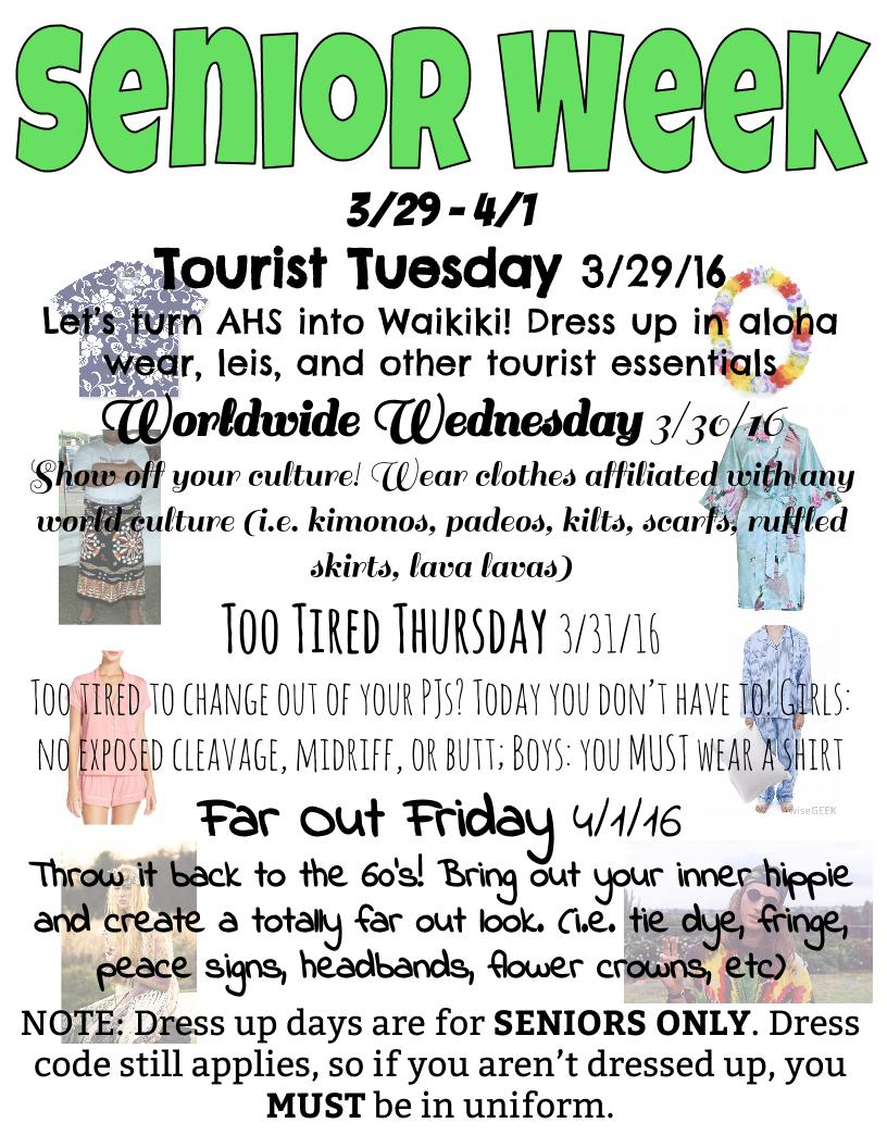 Calendar Dress Up Ideas : Senior week dress up days and noon hour games