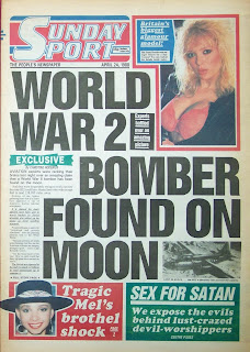 Front page of the Sunday Sport newspaper from 24th April 1988