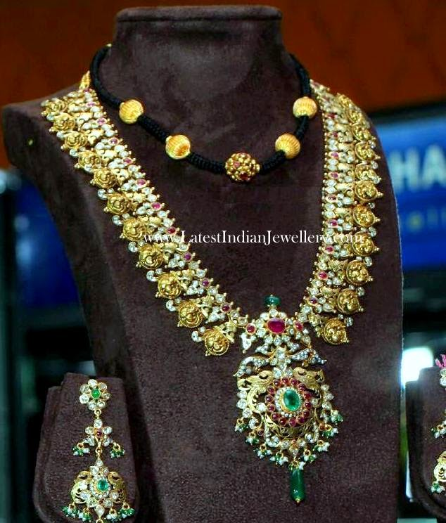 Contemporary Gold Peacock Kasu Haram