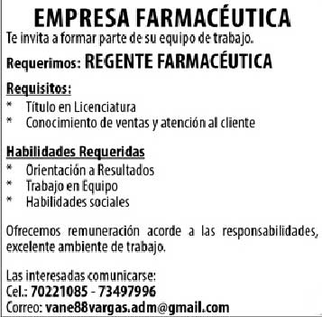 Empresa farmacéutica requiere regente