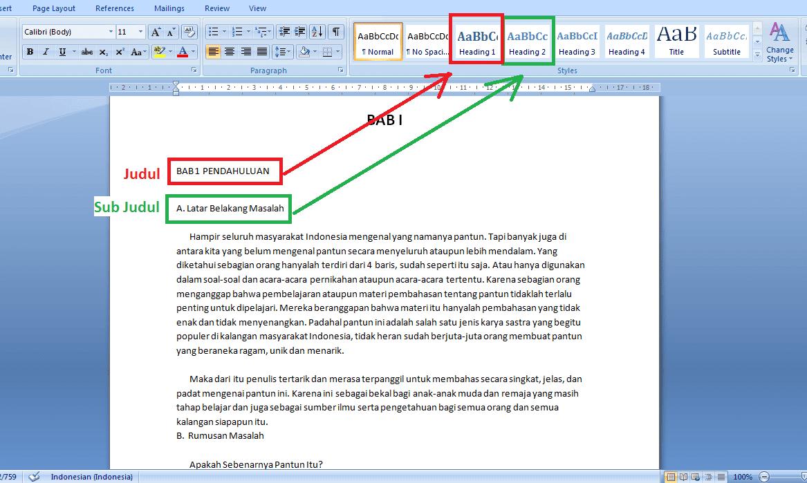 Contoh Daftar Isi Dan Pendahuluan - How To AA