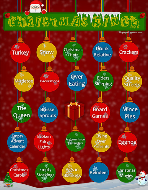 Christmas Bingo card free to download