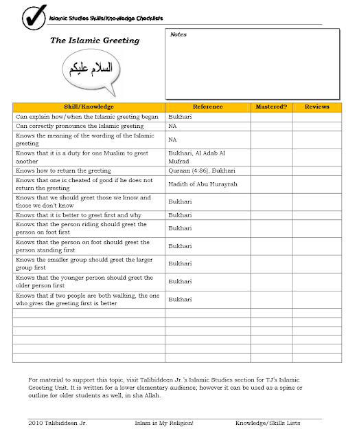 Islamic Greeting Skills Checklist