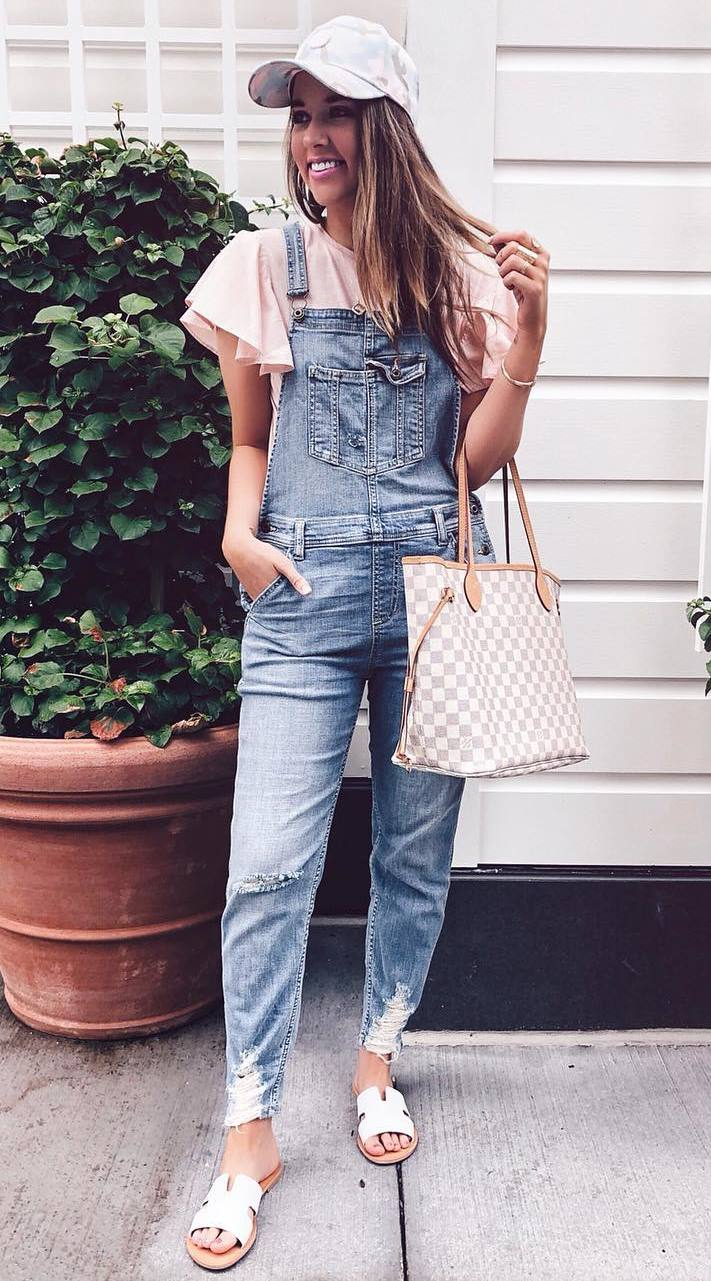 casual style perfection / bag + denim jumpsuit + hat + top + slides