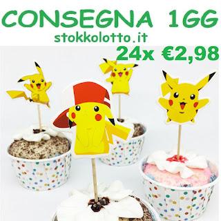 bandierine statuine topper cake per torte a tema pikachu pokemon go