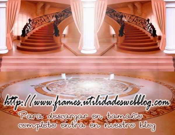 Bonitos fondos de lobby con escaleras para bodas, 15 años y comuniones color salmon