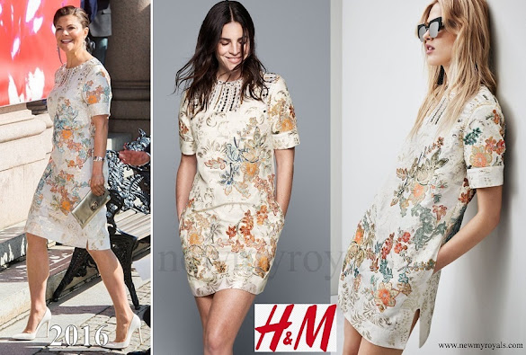 Crown Princess Victoria wore  H&M Floral Print dress - Conscious Exclusive 2016