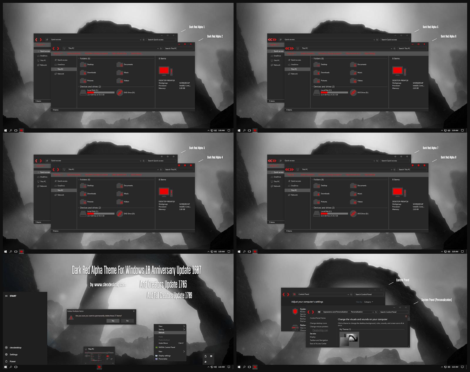 Dark Red Alpha Theme Windows10 Fall Creators Update 1709