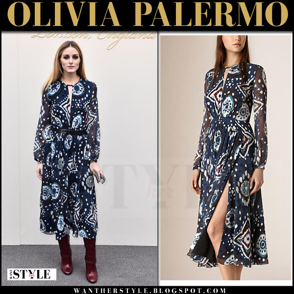 Olivia Palermo in blue printed silk maxi burberry dress front row lfw what she wore