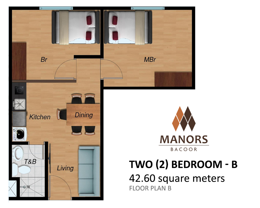 Manors Bacoor - Two (2) Bedroom 42.6 SQM | Condominium for Sale Bacoor Cavite