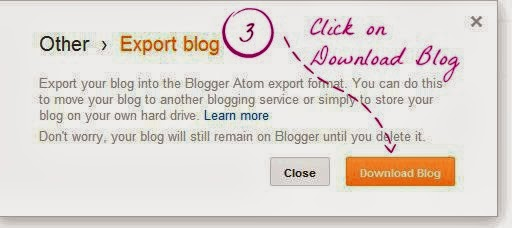 how to backup your blog - step 3