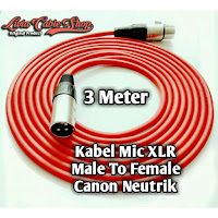 kabel mic 3 meter male to female kabel merah, jack canon neutrik.